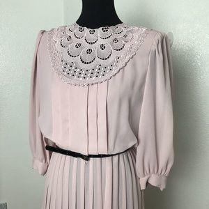 Vintage Dim the Lites Pleated Dress Sz 8